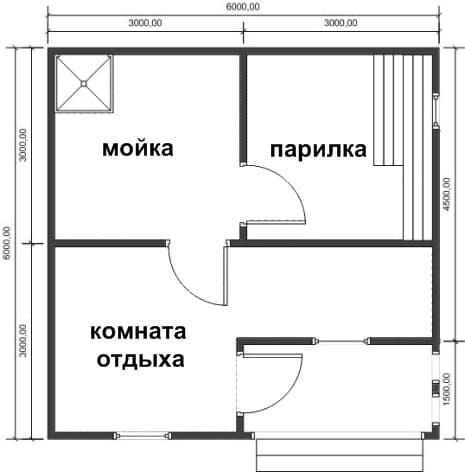 Проект бани 6х6 проект б 4