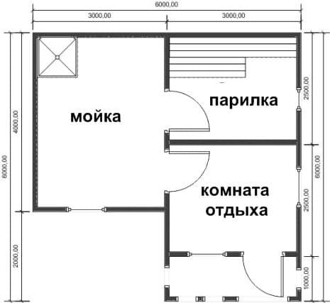 планировка бани с фундаментом