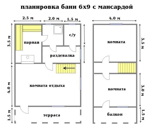 планировка бани 6х9