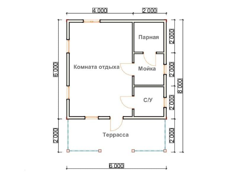 планировка бани 6х8