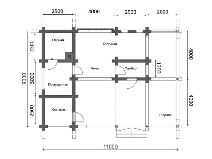 Баня 8х11 из оцилиндрованного бревна (проект БР-22)