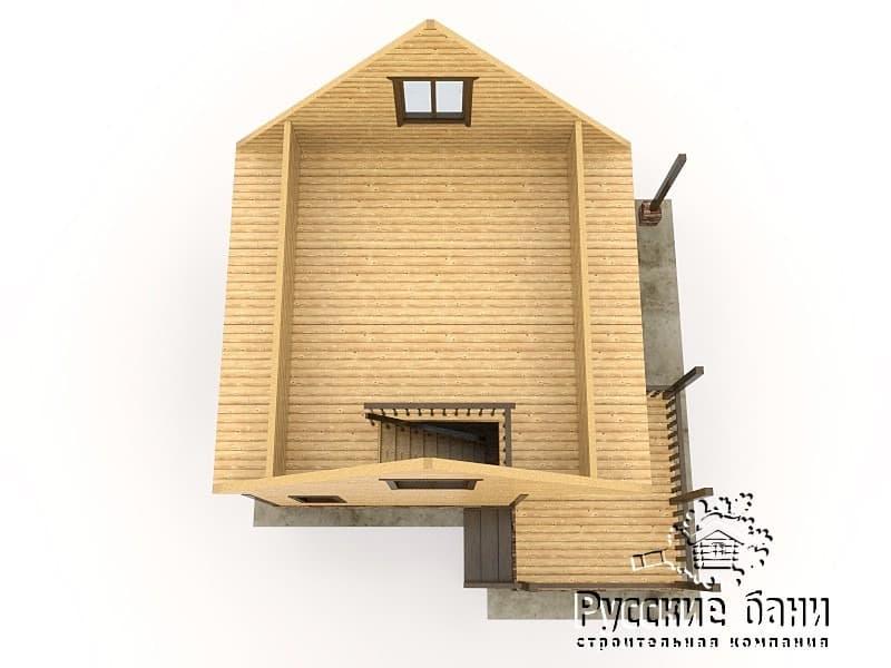 Проект бани с террасой и навесом для дров (Б-57)