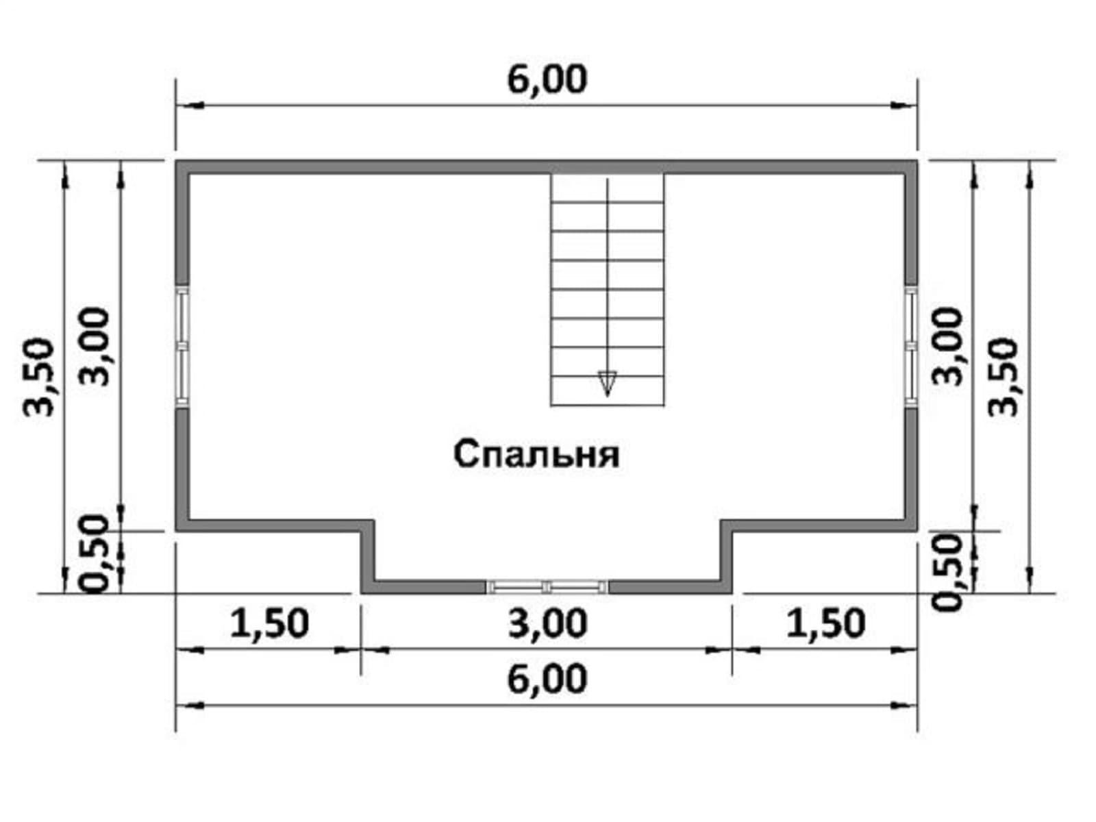 Проект двухэтажной бани 6х4