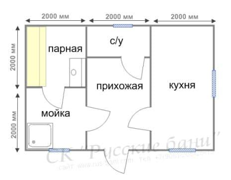 Проект бани из бруса с кухней (проект Б-16)