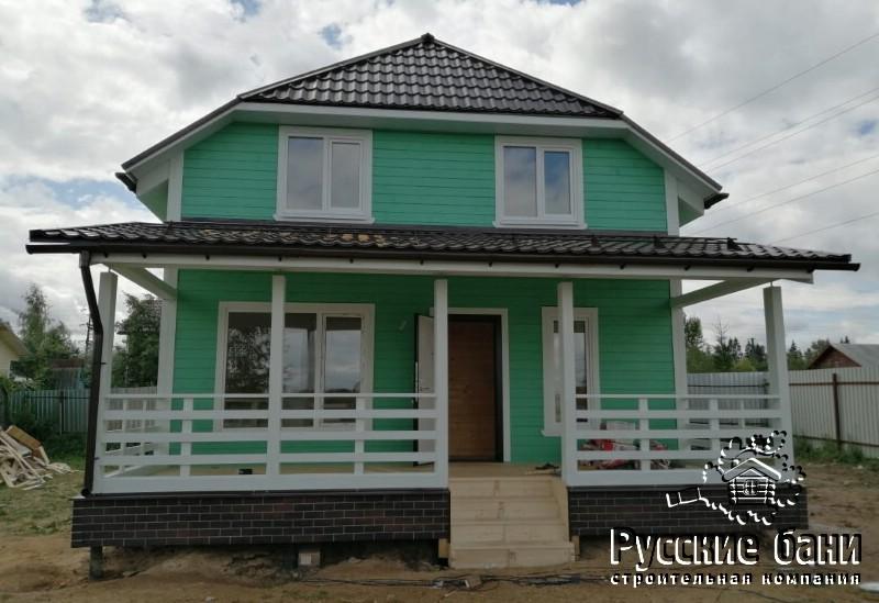 Двухэтажный дом-баня с террасой